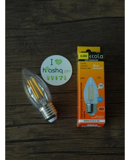 Լամպ Ecola Candle LED 6,0W 220V E27 2700K 360° filament թափանցիկ թելաձև մոմ (Ra 80, 100 Lm/W, КП=0) 96х37