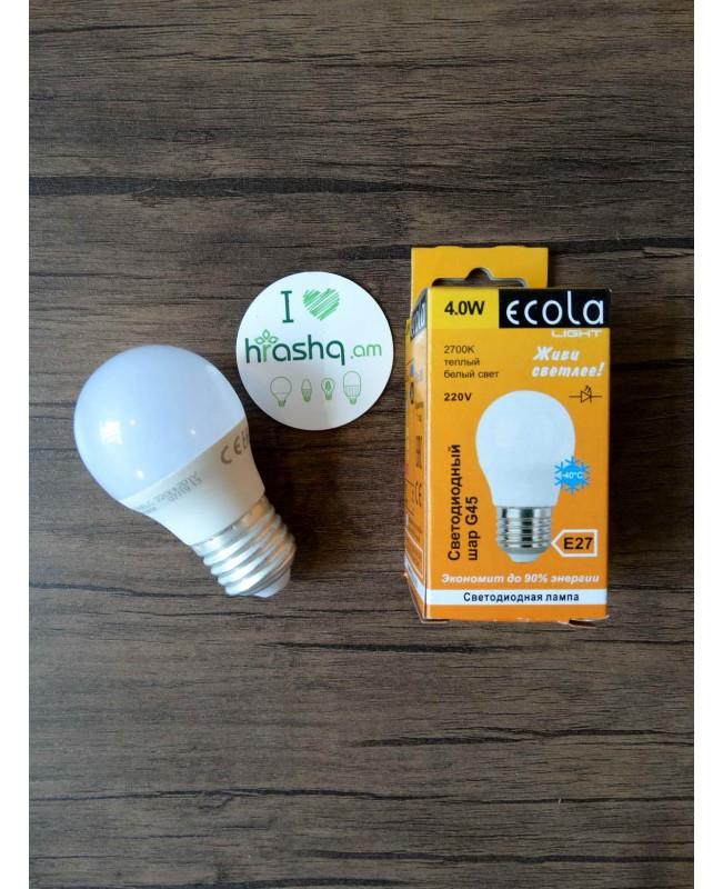 Ecola Light Globe լամպ LED 4,0W G45 220V E27 2700K կոմպոզիտ 75x45