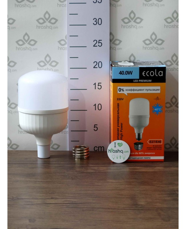 Լամպ Ecola High Power LED Premium 40W 220V ունիվերս. E27/E40 6000K 200х100