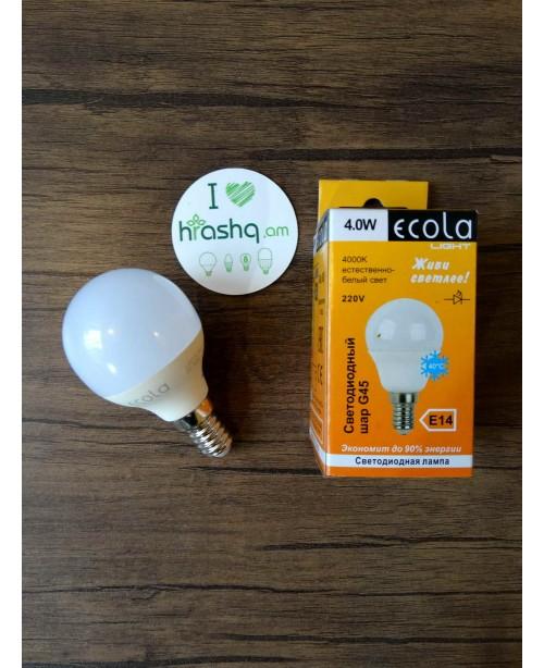 Лампа Ecola Light Globe LED 4,0W G45 220V E14 4000K композит 77x45