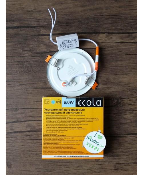 Լամպ Ecola LED Downlight 6W 220V 6500K 120x20: Կլոր, ներկառուցվող: