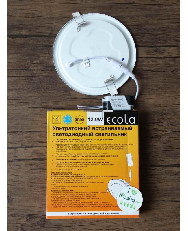 Լամպ Ecola LED Downlight 12W 220V 4200K 170x20: Կլոր, ներկառուցվող:
