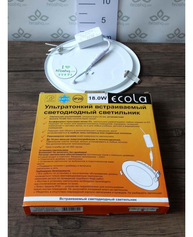Լամպ Ecola LED Downlight 18W 220V 4200K 225x225x20: Կլոր, ներկառուցվող: