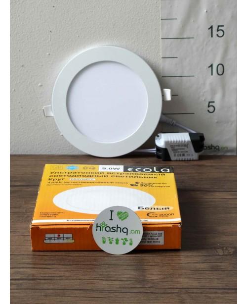 Լամպ Ecola LED Downlight 9W 220V 4200K 145x20: Կլոր, ներկառուցվող:
