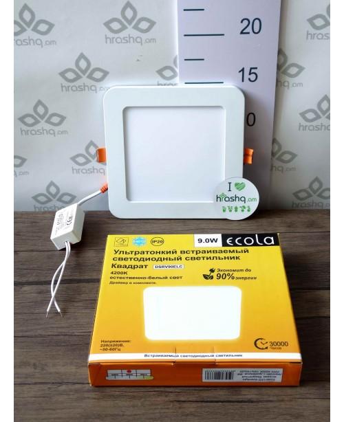Լամպ Ecola LED Downlight 9W 220V 4200K 145x20: Քառակուսի, ներկառուցվող: