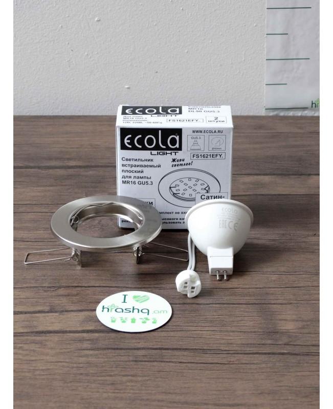Ներկառուցվող լուսատու Ecola Light MR16 DL90 GU5.3, տափակ, կլոր, սատին-Խրոմ, 30x80