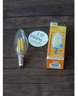 Лампа Ecola Candle LED 5,0W 220V E14 4000K 360° filament прозр. нитевидная свеча (Ra 80, 100 Lm/W) 96х37