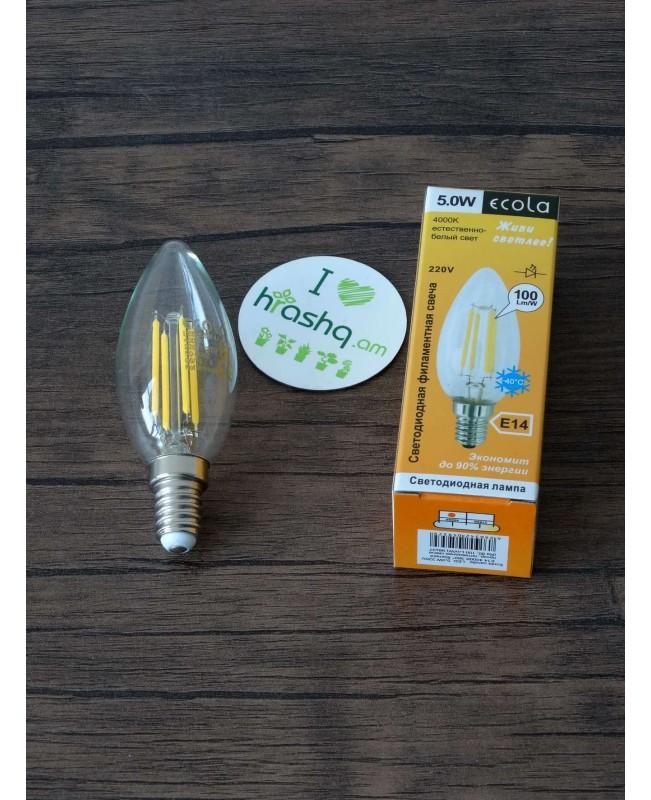 Լամպ Ecola Candle LED 5,0W 220V E14 4000K 360° filament թափանցիկ թելաձև մոմ (Ra 80, 100 Lm/W) 96х37