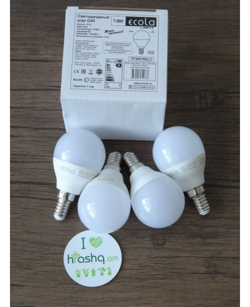 Ecola Light Globe լամպ LED 7,0W G45 220V E14 2700K կոմպոզիտ 82x45