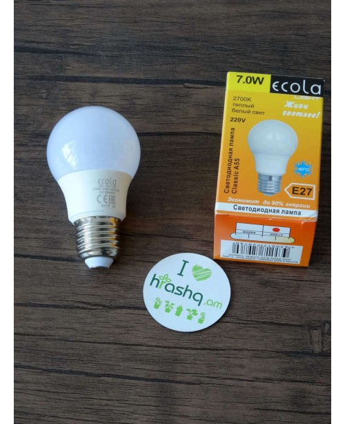 Ecola Light Classic LED լամպ 7,0W A55 220V E27 2700K 100x55
