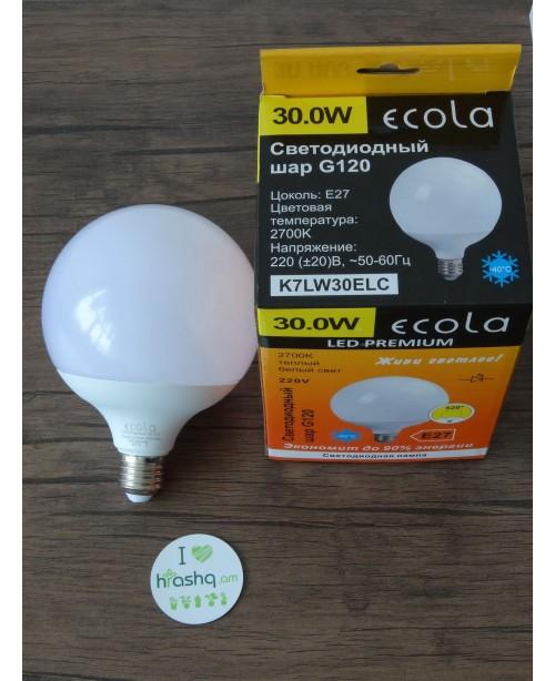 Лампа Ecola Globe LED Premium 30,0W G120 220V E27 2700K 320° шар (композит) 170x120