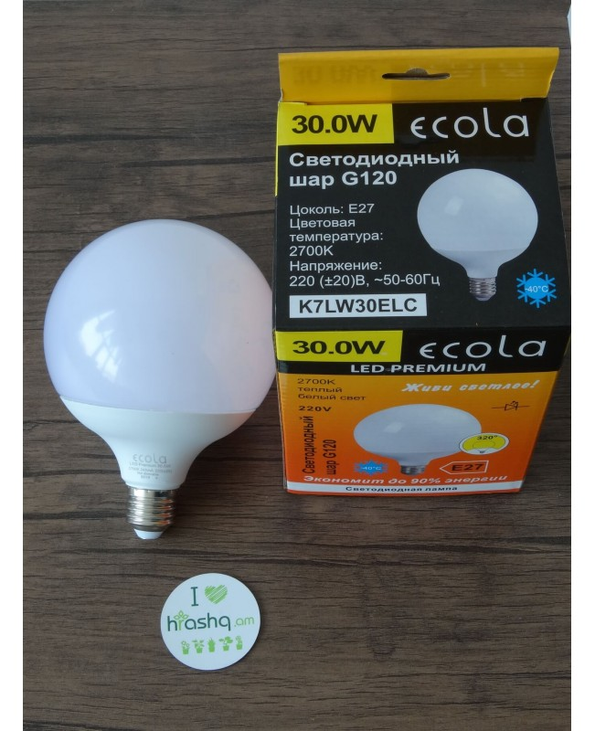 Լամպ Ecola Globe LED Premium 30,0W G120 220V E27 2700K 320° գունդ կոմպոզիտ 170x120