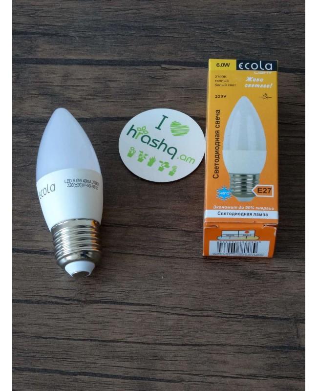 Ecola Light Candle լամպ LED 6,0W 220V E27 2700K մոմ 100x37