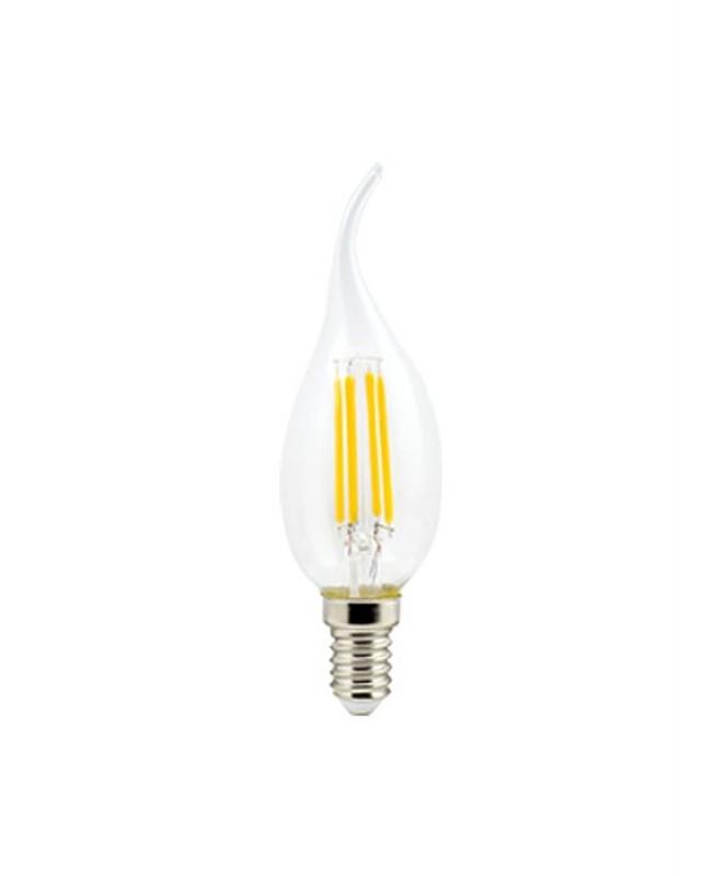 Լամպ Ecola Candle LED 5,0W 220V E14 2700K 360° filament թափանցիկ թելաձև մոմ (Ra 80, 100 Lm/W) 127х37