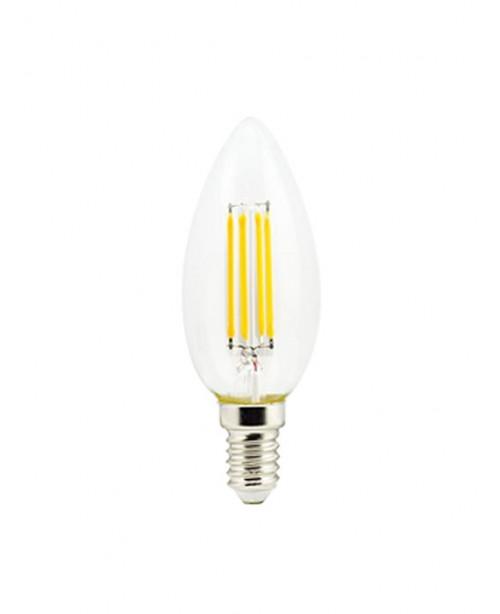 Լամպ Ecola Candle LED 5,0W 220V E14 2700K 360° filament թափանցիկ թելաձև մոմ (Ra 80, 100 Lm/W) 96х37