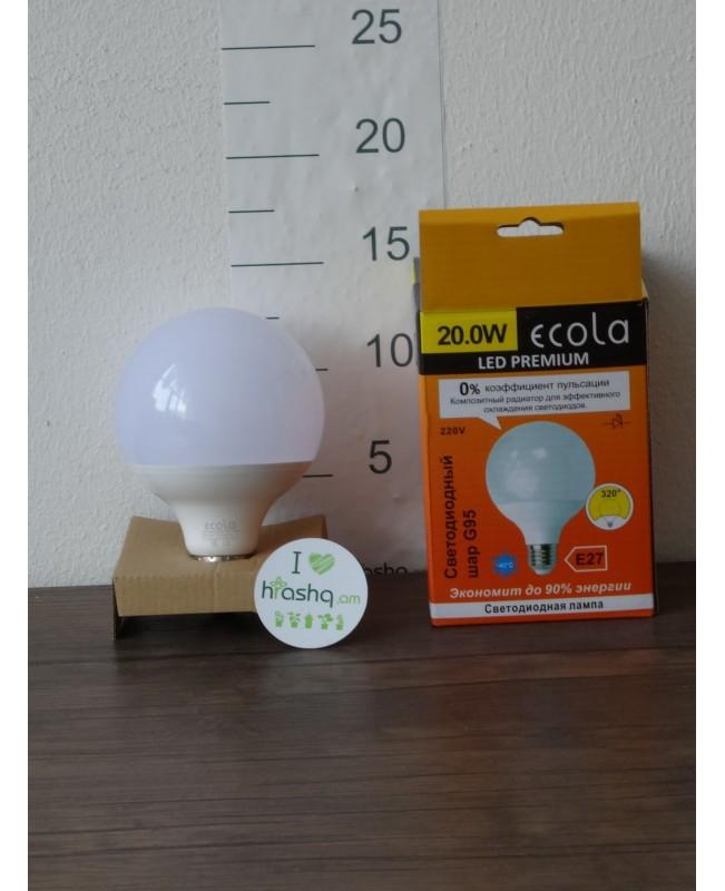 Լամպ Ecola Globe LED Premium 20,0W G95 220V E27 2700K գունդ 320° կոմպոզիտ 140x95