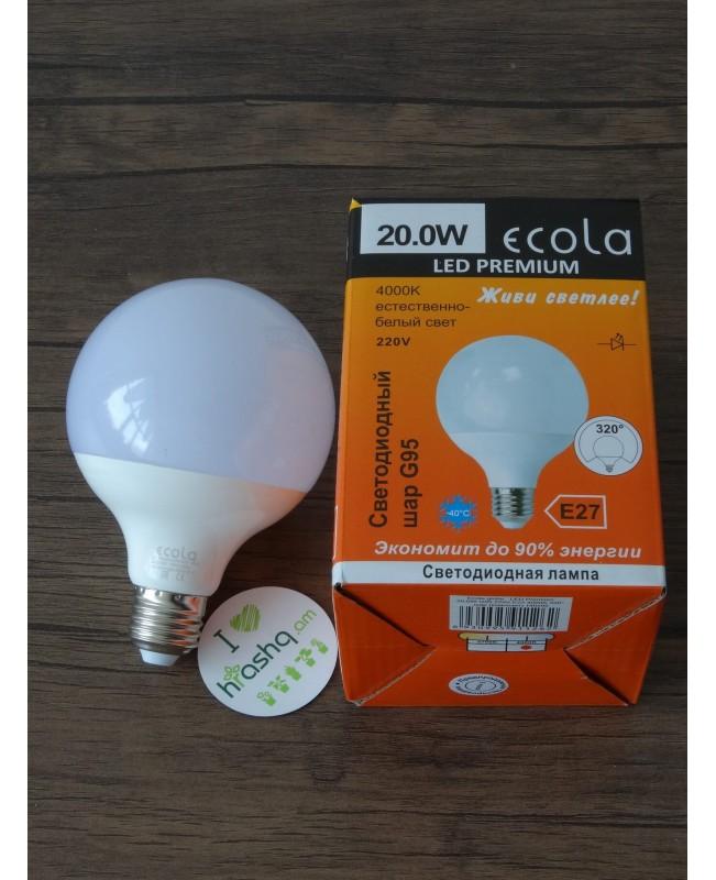 Լամպ Ecola Globe LED Premium 20,0W G95 220V E27 4000K գունդ 320° կոմպոզիտ 140x95