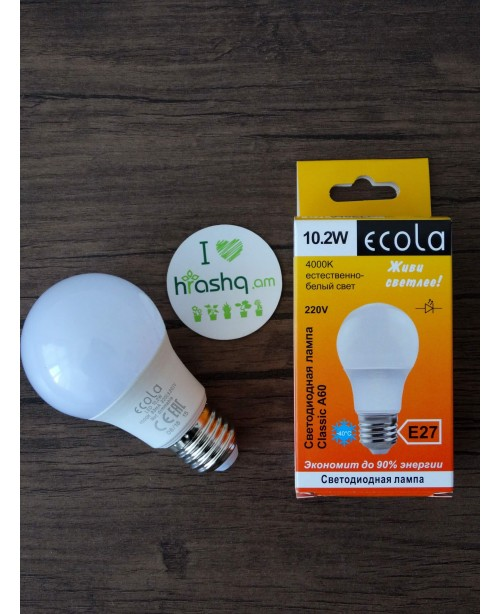 Ecola Light Classic LED լամպ 10,2W A60 220V E27 4000K 100x60