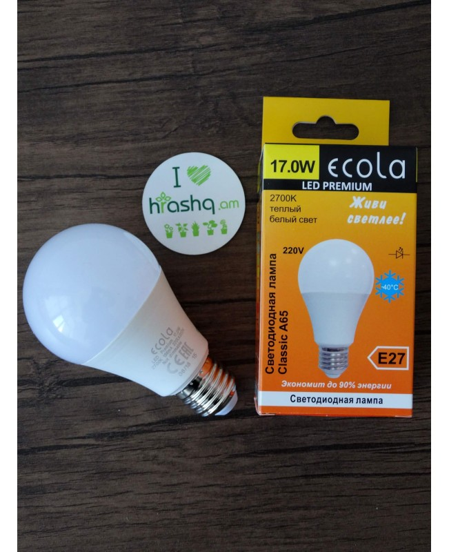 Ecola Light Classic LED լամպ 17W A60 220-240V E27 2700K ԿՈՄՊՈԶԻՏ 122x65