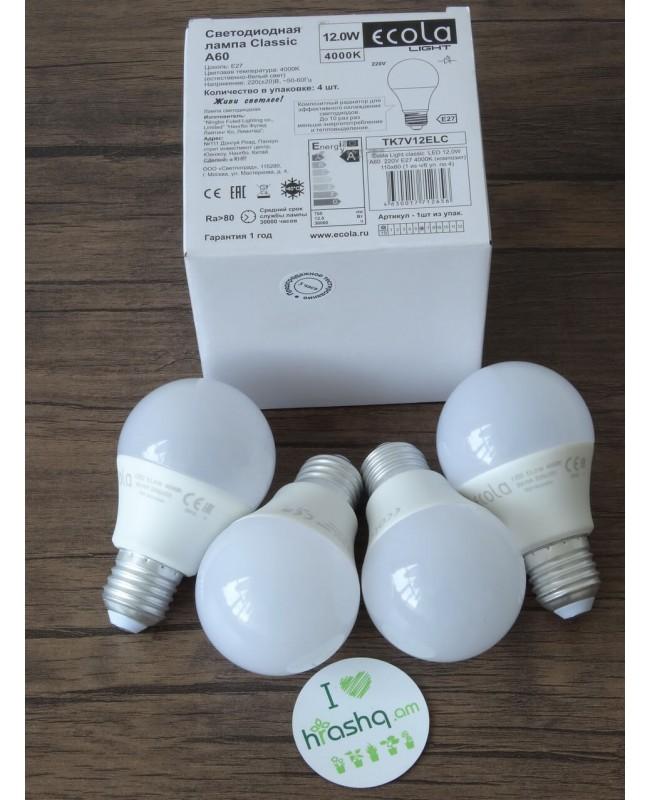 Ecola Light Classic LED լամպ 12,0W A60 220-240V E27 4000K կոմպոզիտ 110x60