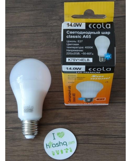 Լամպ Ecola Classic LED Premium 14,0W A65 220-240V E27 4000K 360° կոմպոզիտ 125x65