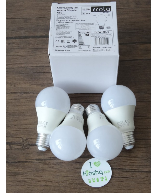 Ecola Light Classic LED լամպ 12,0W A60 220-240V E27 2700K կոմպոզիտ 110x60