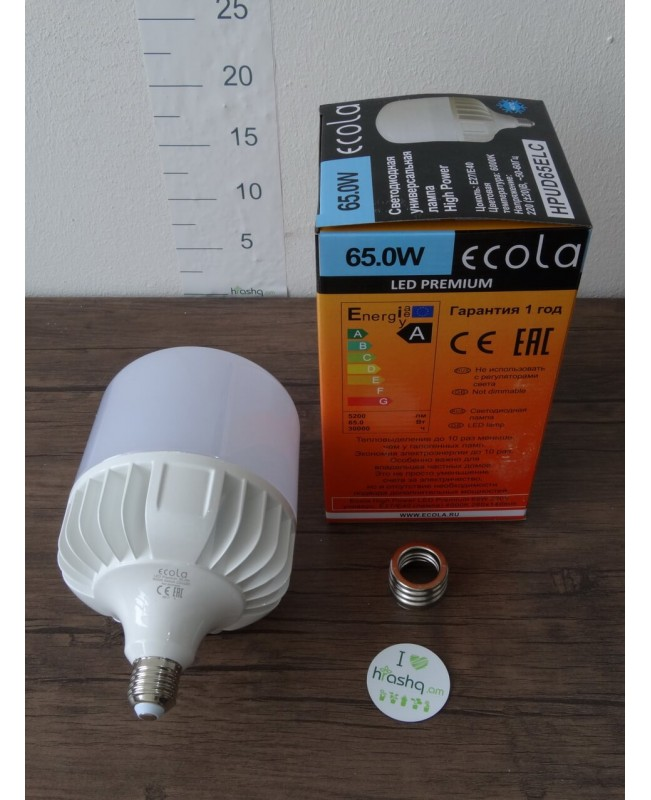 Լամպ Ecola High Power LED Premium 65W 220V ունիվերս. E27/E40 4000K 280х140