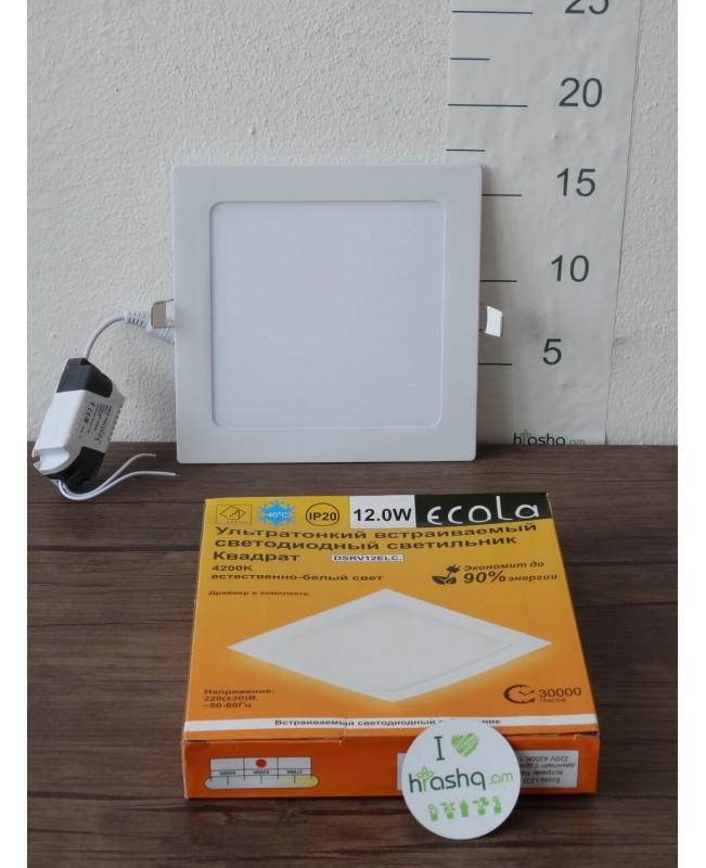 Լամպ Ecola LED Downlight 12W 220V 4200K 170x170x20: Քառակուսի, ներկառուցվող: