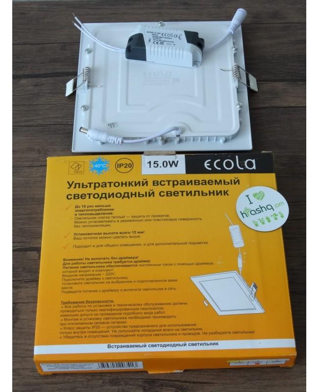 Լամպ Ecola LED Downlight 15W 220V 4200K 195x195x20: Քառակուսի, ներկառուցվող: