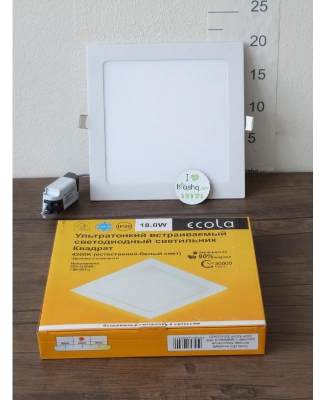 Լամպ Ecola LED Downlight 18W 220V 4200K 225x225x20: Քառակուսի, ներկառուցվող: