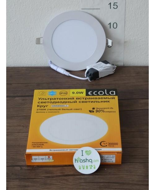 Լամպ Ecola LED Downlight 9W 220V 2700K 145x20: Կլոր, ներկառուցվող: