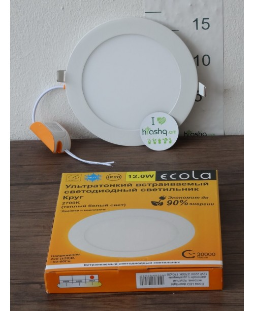 Լամպ Ecola LED Downlight 12W 220V 2700K 170x20: Կլոր, ներկառուցվող: