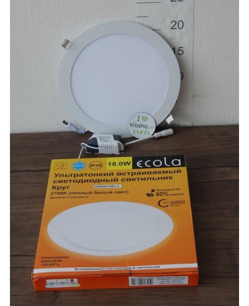 Լամպ Ecola LED Downlight 18W 220V 2700K 225x20: Կլոր, ներկառուցվող: