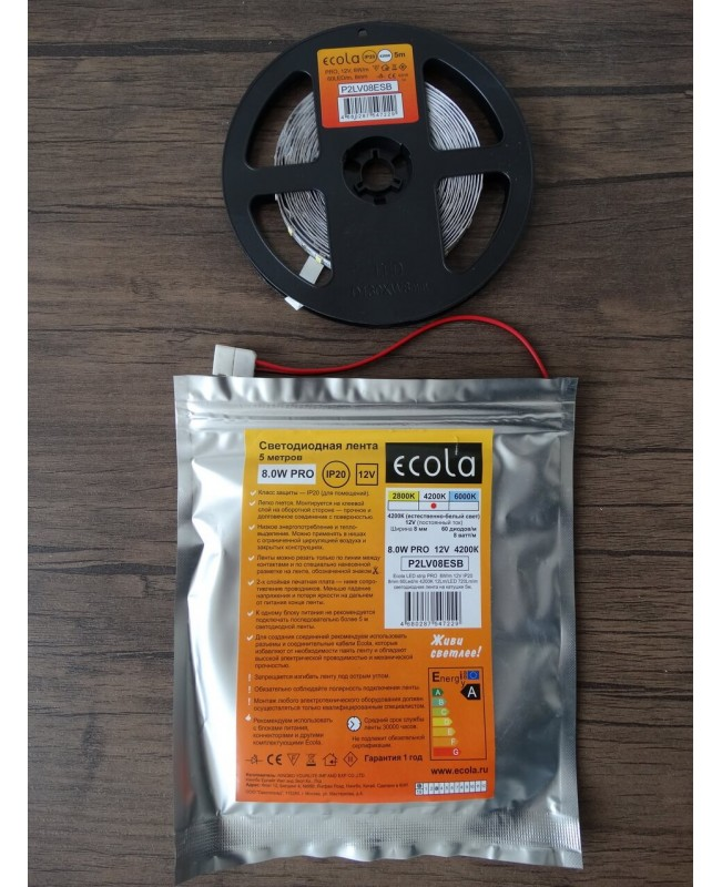 Ժապավեն Ecola LED Strip PRO 8W/m 12V IP20 8mm 60Led/m 4200K 12Lm/LED 720Lm/m 5մ