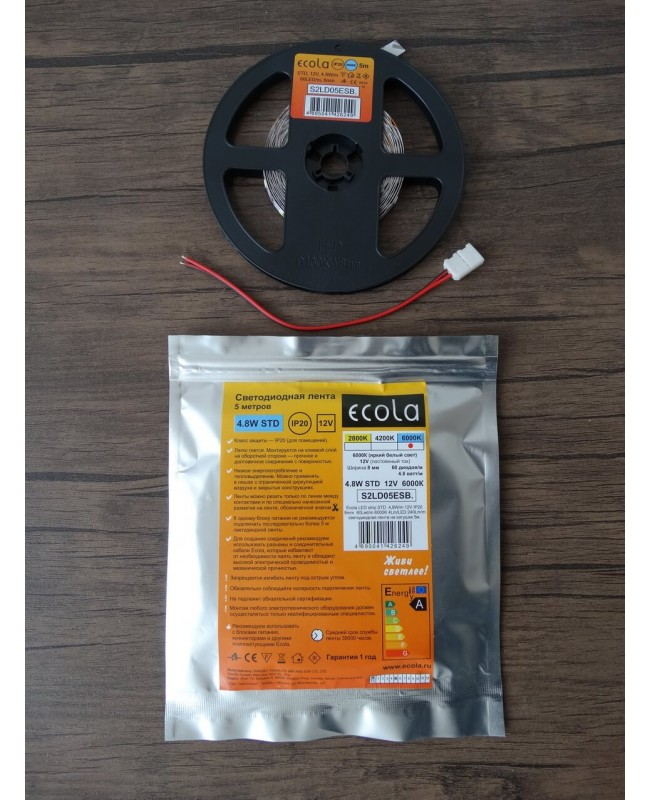 Лента на катушке Ecola LED Strip STD 4,8W/m 12V IP20 8mm 60Led/m 6000K 4Lm/LED 240Lm/m 5м