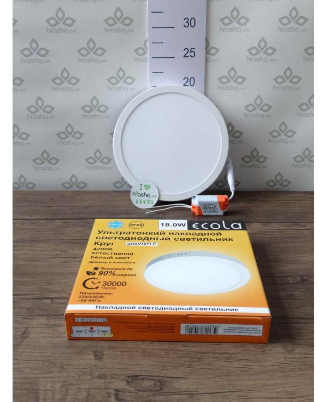 Ecola LED downlight արտաքին Կլոր դաունլայթ դրայվերով 18W 220V 4200K 210x32