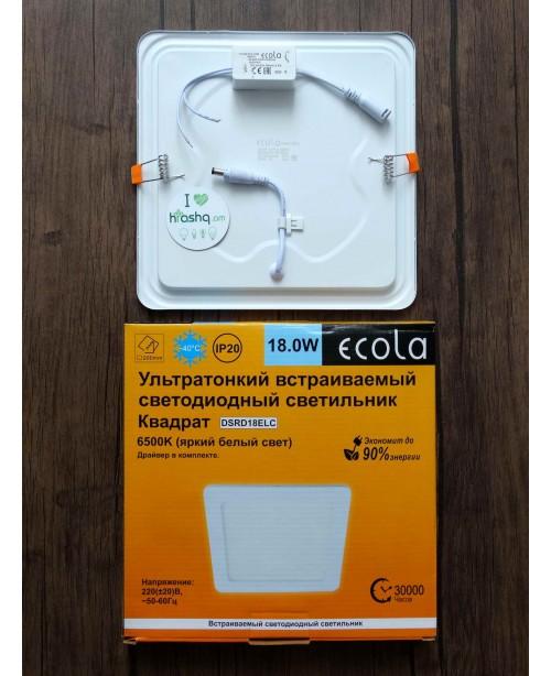 Լամպ Ecola LED Downlight 18W 220V 6500K 225x225x20: Քառակուսի, ներկառուցվող: