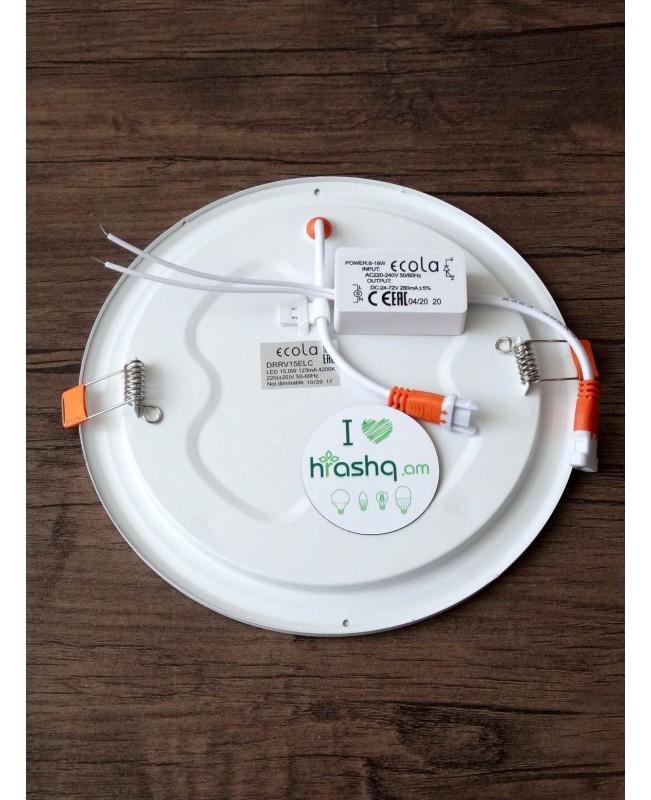 Լամպ Ecola LED Downlight 15W 220V 4200K 195x20: Կլոր, ներկառուցվող:
