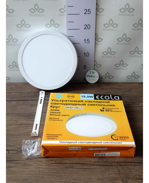 Ecola LED downlight արտաքին Կլոր դաունլայթ դրայվերով 18W 220V 6500K 220x32