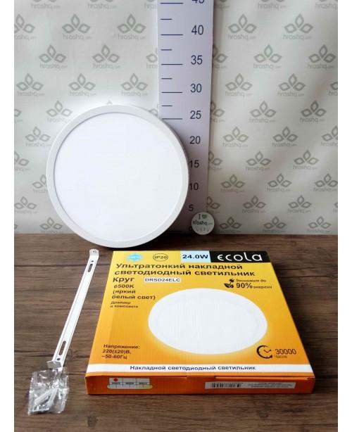 Ecola LED downlight արտաքին Կլոր դաունլայթ դրայվերով 24W 220V 6500K 285x32
