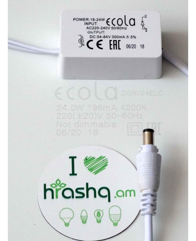 Լամպ Ecola LED Downlight 24W 220V 4200K 300x300x20: Քառակուսի, ներկառուցվող: