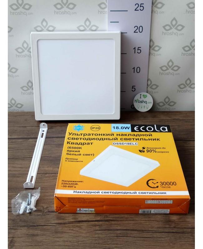 Ecola LED downlight արտաքին քառակուսի դաունլայթ դրայվերով 18W 220V 6500K 220x32