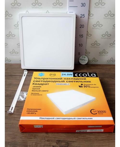 Ecola LED downlight արտաքին քառակուսի դաունլայթ դրայվերով 24W 220V 6500K 300x32