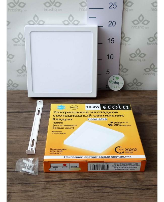 Ecola LED downlight արտաքին քառակուսի դաունլայթ դրայվերով 18W 220V 4200K 220x32