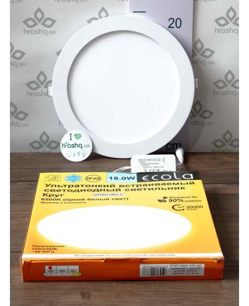 Ecola LED downlight ներկառուցվող Կլոր դաունլայթ դրայվերով 18,0W 220V 6500K 225x20մմ