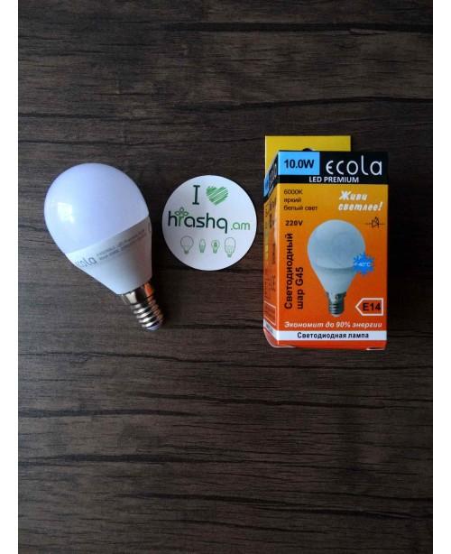 Լամպ Ecola Globe LED Premium 10,0W G45 220V E14 6000K գունդ կոմպոզիտ 82x45