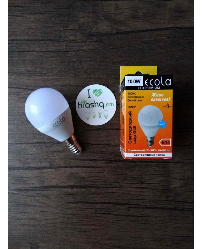 Լամպ Ecola Globe LED Premium 10,0W G45 220V E14 4000K գունդ կոմպոզիտ 82x45