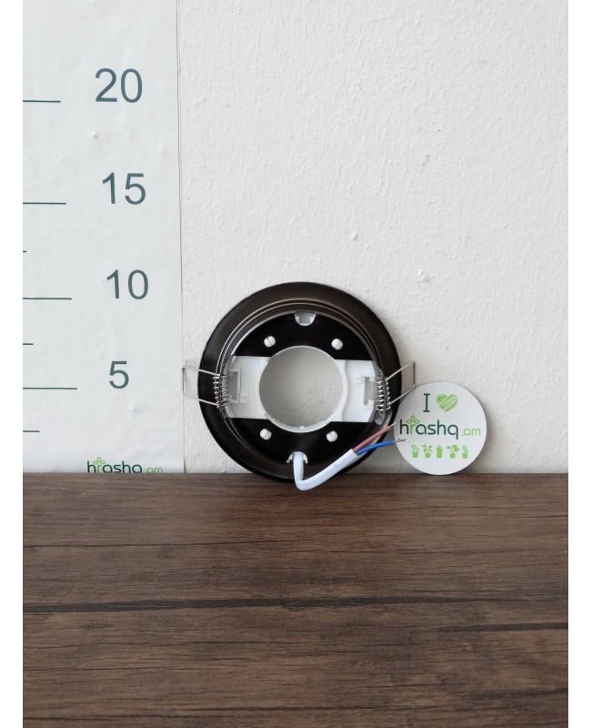 Ներկառուցվող լուսատու Ecola GX53 H4 համար, սև մետալիկ, 38x106