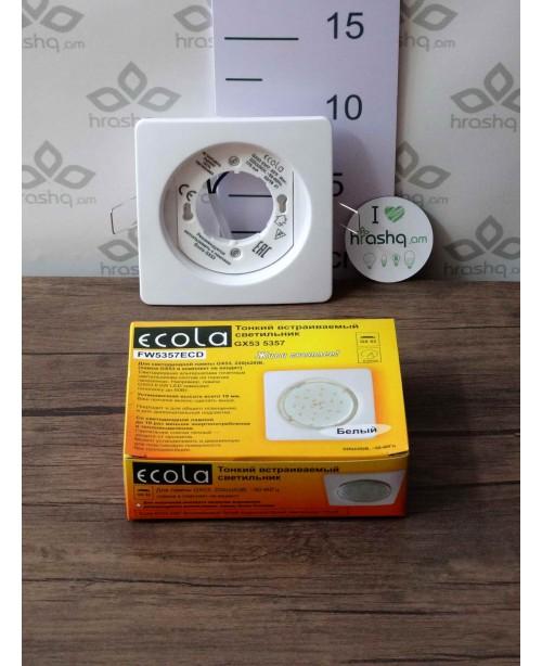 Ներկառուցվող լուսատու Ecola GX53 5357, թեթև, քառակուսի, սպիտակ 107x25մմ