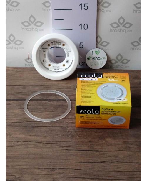 Ներկառուցվող լուսատու Ecola GX53, մետաղական, խորը, սպիտակ, 48x106